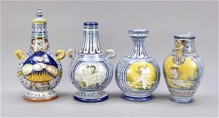 Four bottles, Deruta, Italy, 20th c.
