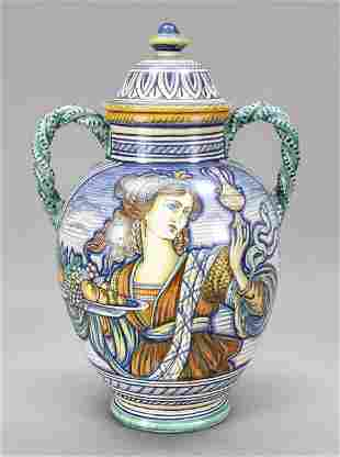 Lidded vase, Deruta, Italy, 20th c.,