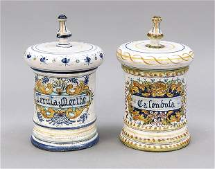 Two apothecary jars, Deruta, Italy,