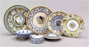 Seven pieces of ceramics, Italy, 20t