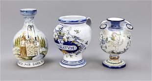 Three jugs, Derura, Italy, 20th c.,