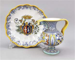 Rounded bowl and jug with handle, De