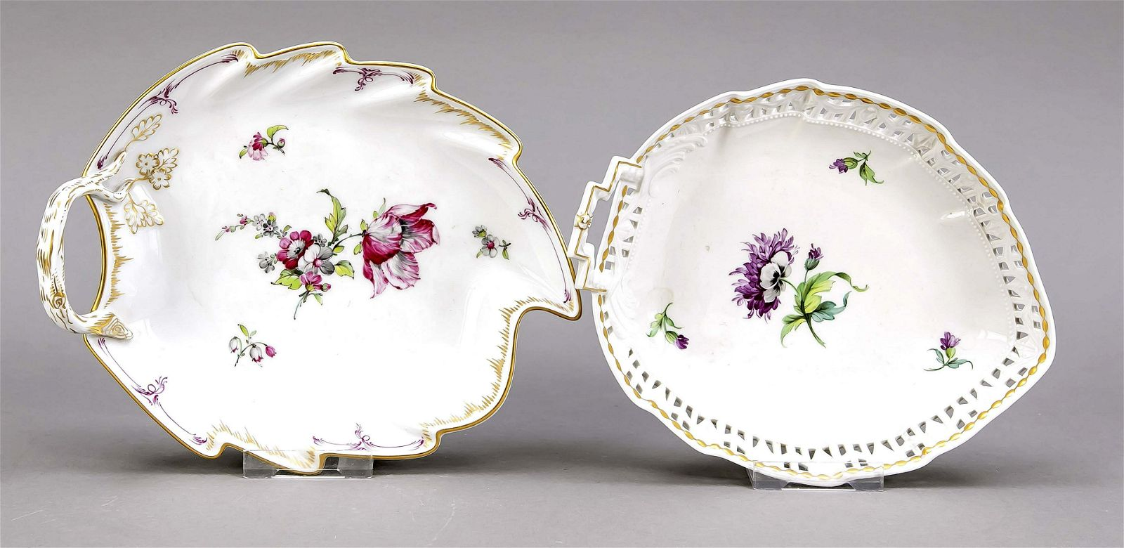 Two leaf bowls, KPM Berlin, marks 19