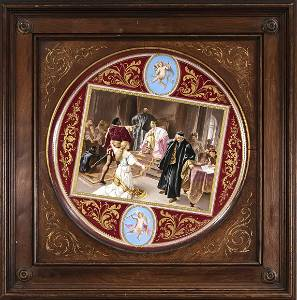 Large picture plate,  Sevres attr.,