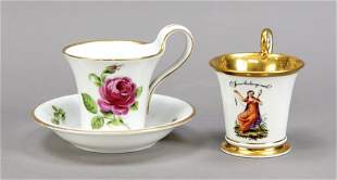 Two cups with 1 saucer, 1 cup with s