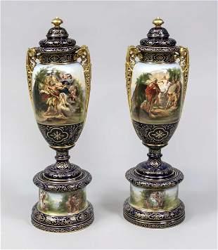 Pair of large floor vases, in Vienne