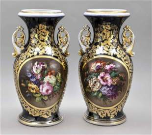 Pair of large vases, France, 19th c.