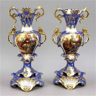 Pair of historicism vases, France, 1