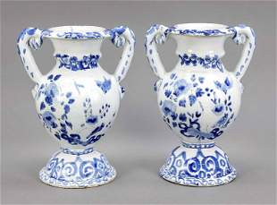 Pair of vases with handles, faience,