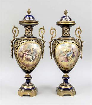 Pair of lidded vases in Sevres style