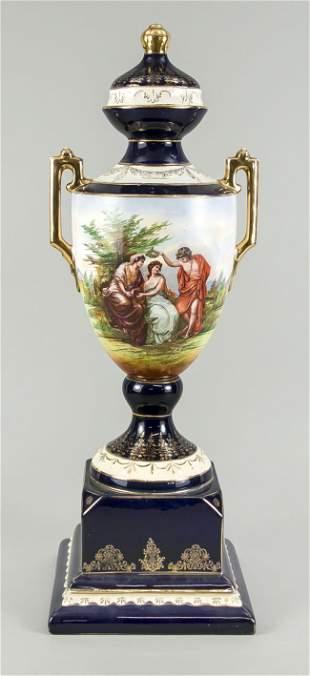 Large lidded vase, Bohemia, 20th c.,