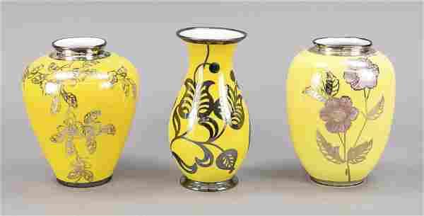 Three vases, 20th c., different make