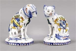 Dog & Cat, faience, France, 20th c.,