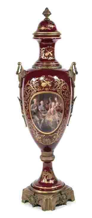 Splendid lidded vase, in the style o