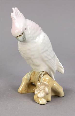 Cockatoo on a branch, Royal Dux, Boh