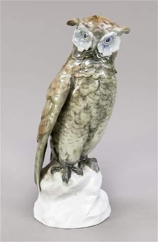 Eagle owl sitting on a rock pedestal