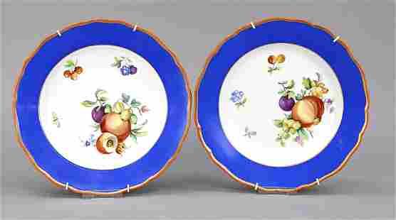 Two dinner plates, Meissen, Knauff-S