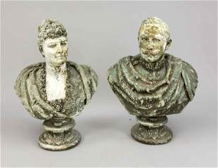 Pair of large busts of the i
