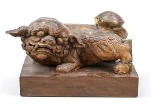 Fo lion on pedestal, China,