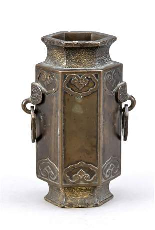 Small bronze vase, China, 19