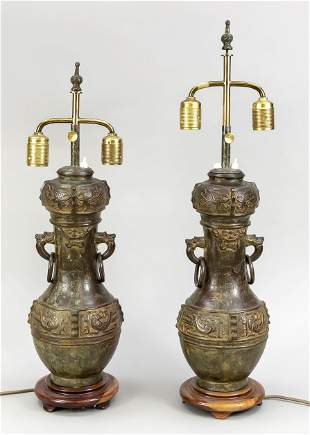 Pair of vase shaped lamps, C