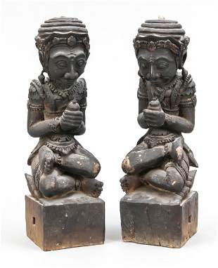 Pair of wooden figures, Thai