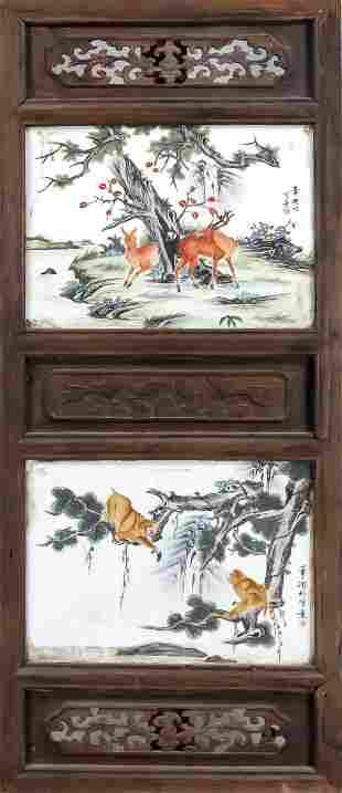 Framed porcelain plates, Chi