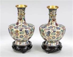 Pair of cloisonné vases, Chi