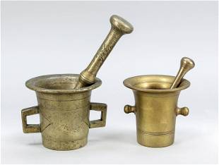 2 mortars with pestle, 19th c.
