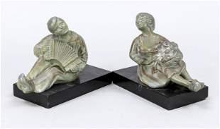 Pair of figural desk decoratio