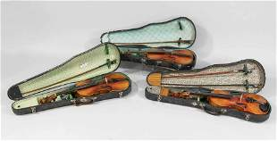 3 violins with case, age and o