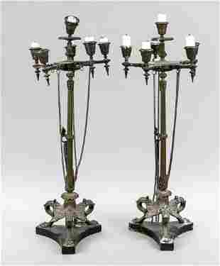 Pair of large historism candle