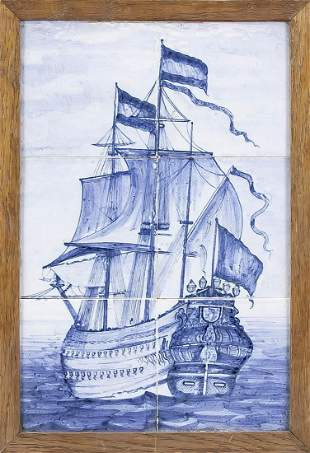 Tile picture with sailing ship