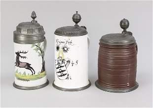 3 lidded jugs (2x faience, 1x