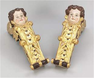 Pair of consoles with putto, 1