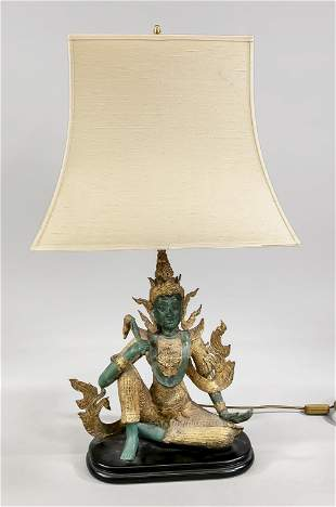 Lamp with figural base, 20th c