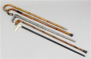 4 walking sticks, 19th/20th c.