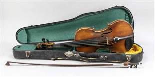Violin with violin bow, maple