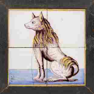 Tile painting with dog, probab