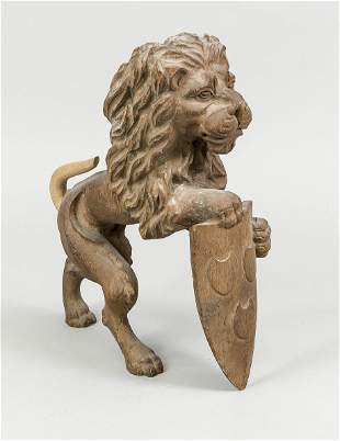 Wooden lion (probably once a f