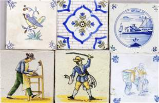 25 tiles, 18th/19th c., differ