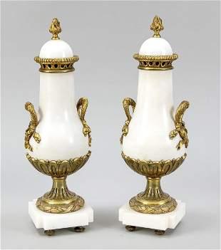 Pair of ornamental urns, late