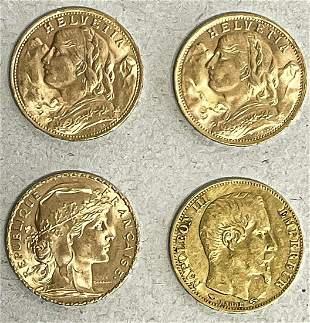4 gold coins: 2x Switzerland,