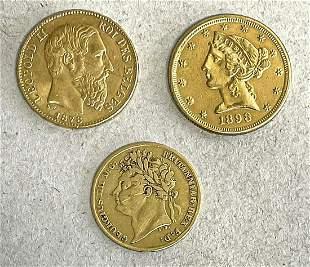 3 gold coins: 1x Belgium, 20 f