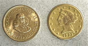 2 gold coins: 1x South Africa,