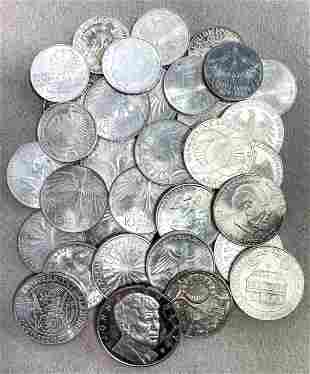 Mixed lot of silver coins, 9x