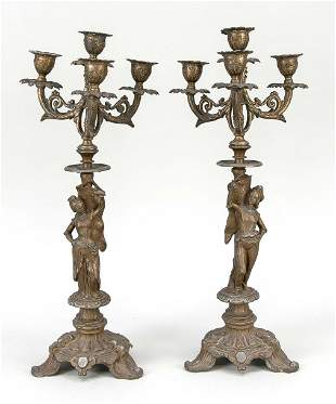 Pair of historicism candlestic