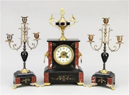 Fireplace clock set, 3 pieces,