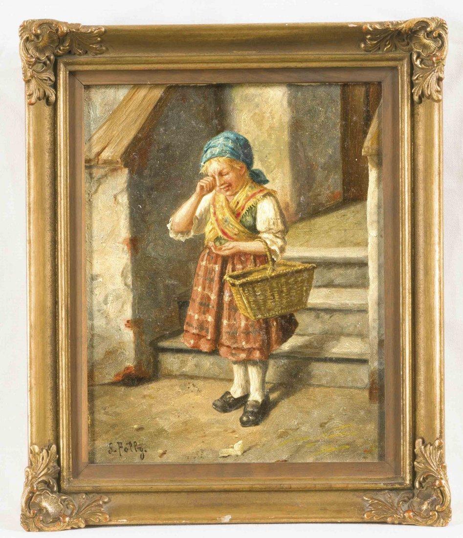 S. Polly, Wiener Genremaler um 1900, Weinendes Mädchen