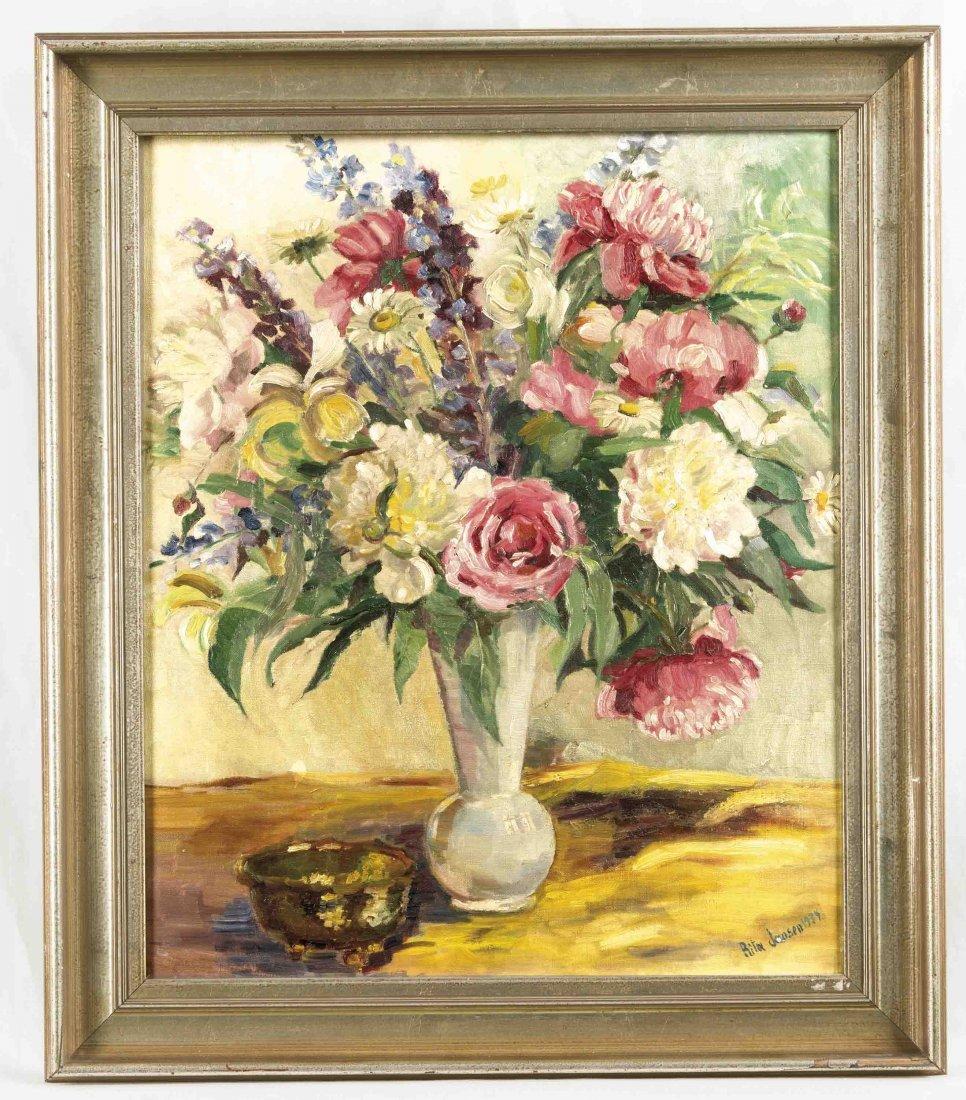 Sign. Rita Jansen, Blumenmalerin 1. H. 20. Jh., Vase